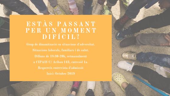 A l'octubre reprendrem el Grup de dinamització psico social per a persones en situació d'adversitat de Cipais