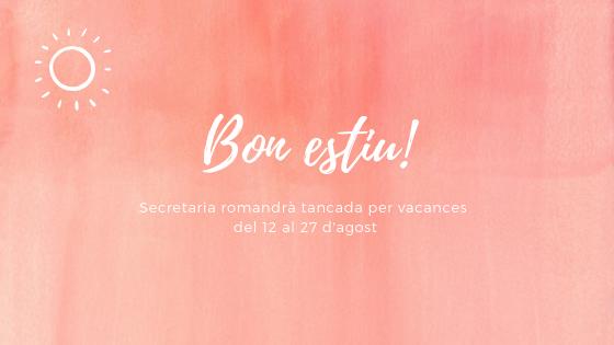 Horaris de secretaria per vacances d'estiu